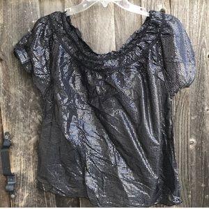 SALE YANSI FUGEL Silk Shimmer Crinkle Sheer Top